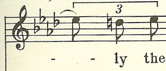 rhythmic motif imitated in vocal line measure 4