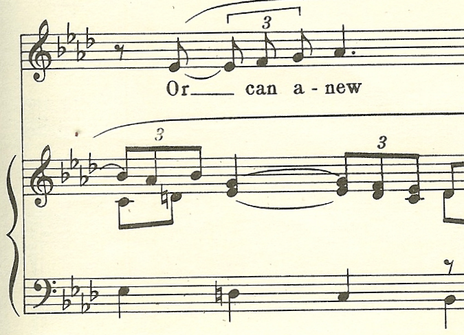 Imitation between vocal line and accompaniment measure 6
