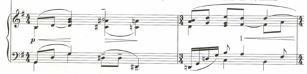 Piano accompaniment for the first two measures