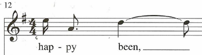 disjunct melody in vocal line, measure 12